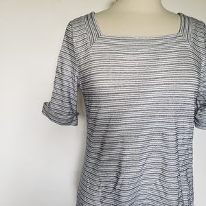 Talbots Striped Tee W Little Rolled Sleeves